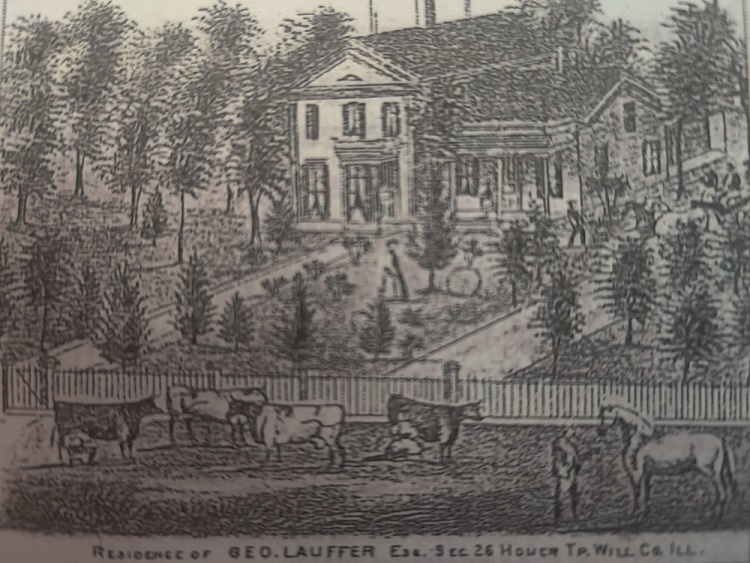 An early homestead, with trees and a fenced area holding horses and cattle.